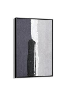 Quadro 90X60Cm Abstrato Tons Cinza Textura Igandea Canvas Moldura Flutuante Preta