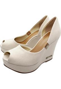 Scarpin Barth Shoes Noite Lona Feminino - Feminino-Bege