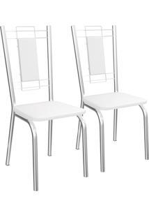 Jogo De 2 Cadeiras Florença Cromada De Metal C005 Crome