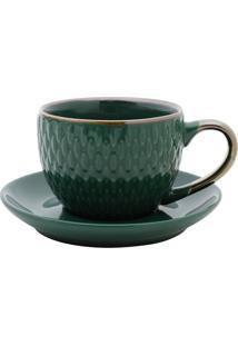 Conjunto De Xícaras Para Café Com Pires 4 Peças 90 Ml 27613 - Bon Gourmet - Verde