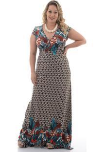 20e229eb5a Chic e Elegante. Vestido Longo Penas Plus Size