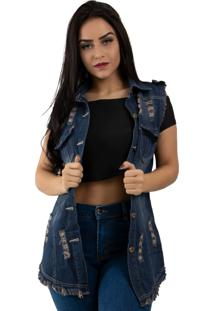 Colete Rioutlet Comprido Jeans Azul