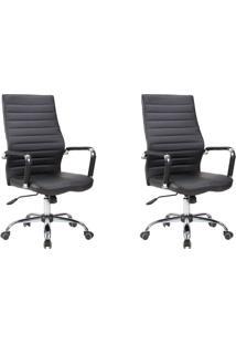Conjunto Com 2 Cadeiras De Escritório Diretor Giratórias Cleaner Preto