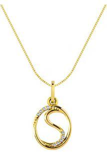 Pingente Letra S Ouro Amarelo E Diamantes 15 Mm