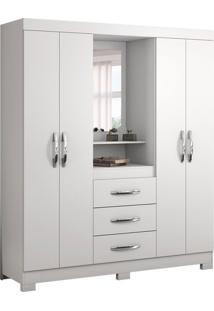 Guarda-Roupa Casal Com Espelho Capelinha 4 Pt Branco