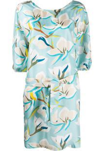 Altea Vestido De Cetim Floral - Azul
