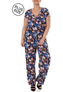 Macacão Longo Plus Size Feminino Azul Marinho