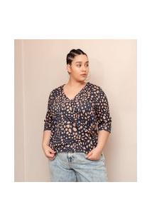 Blusa Transpassada Com Fivela Curve & Plus Size | Ashua Curve E Plus Size | Preto | Gg