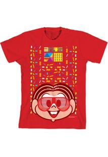 Camiseta Bandup Geek Turma Da Mônica 50 Anos Modelo 2 Anos 90 Vermelho