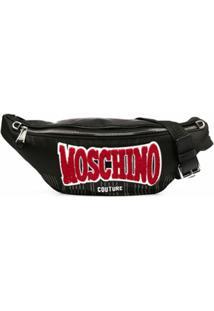Moschino Pochete Com Patch De Logo - Preto