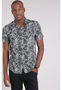 Camisa Masculina Estampada Manga Curta Preta