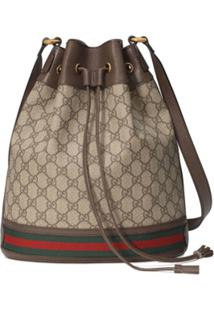 Gucci Beige And Ebony Ophidia Gg Bucket Bag - Neutro