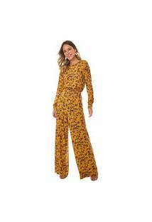 Calça Maria Valentina Comfort Cós Elástico Com Babado Amarelo