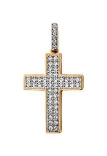 Pingente Cruz Em Ouro 18K Cravejado - Unissex-Ouro