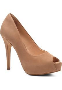 Peep Toe Couro Shoestock Meia Pata - Feminino-Nude