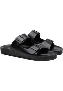 Sandália Birken Masculina Couro Conforto Leve Black Boots - Unissex-Preto