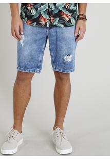 Bermuda Jeans Masculina Destroyed Com Bolsos Azul Médio