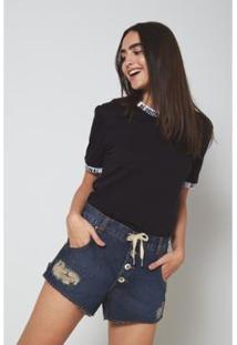 Camiseta Oh,Boy! Frase Feminina - Feminino-Preto