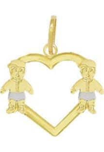 Pingente Prata Mil Coração Vazado Com Dois Meninos Dourado