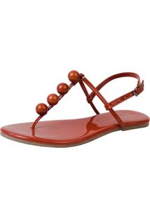 Sandália Rasteira Mercedita Shoes Verniz Borgonha Bola Ultra Macia