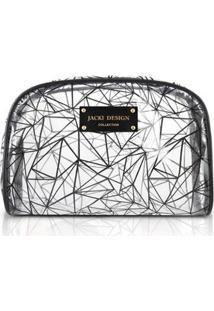 Necessaire Retangular Transparente Jacki Design Crystal - Feminino-Preto
