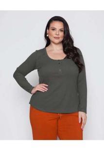 Blusa Almaria Plus Size Pianeta Canelado Verde Verde