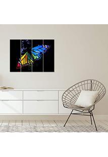 Placa Painel Decorativa Em Mdf Foto Borboleta Kit 4 Placas