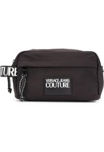 Versace Jeans Couture Necessaire Com Zíper E Patch De Logo - Preto