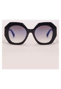 Óculos De Sol Hexagonal Feminino Yessica Azul Marinho