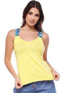 Blusa Nadador Com Alça Estampada Amarelo