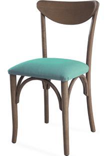 Cadeira Para Sala De Jantar Estofada Amélie - Stain Nogueira - Tec.950 Turquesa - 44,5X45X81 Cm
