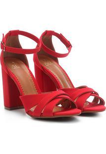 Sandália Ala Salto Grosso Multi Tiras Nobuck Feminina - Feminino-Vermelho Escuro+Branco