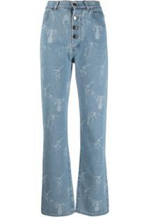 Seen Users Calça Jeans Flare Com Estampa - Azul