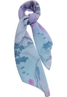 Lenço Smm Acessórios Degrade Com Flor Azul
