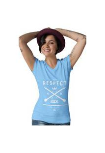 Camiseta Feminina Gola V Ezok Respect Azul Claro