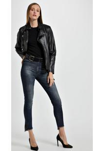 Calca Basic Skinny High Fenda Com Strass Jeans