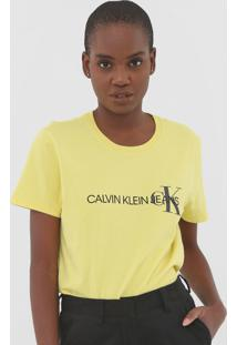 Blusa Calvin Klein Jeans Logo Amarela - Amarelo - Feminino - Algodã£O - Dafiti