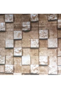Kit 2 Rolos De Papel De Parede Fort Line Lavável Pedra Mosaico Marrom