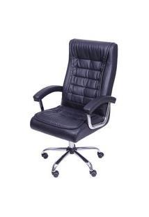 Cadeira Office Luxo Em Courino Preto Com Base Rodizio Cromada - 55947 Preto