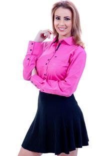 Camisa Lupim Rosa Bolinhas Pretas