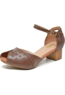 Sandália Retrô Peep Toe Touro Boots Feminina Marrom - Kanui