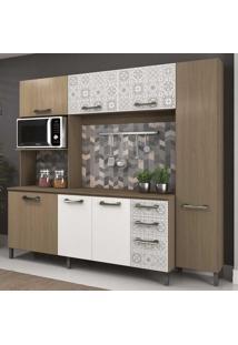 Cozinha Compacta Kits 7 Portas 3 Gavetas 5 Prateleiras E780 Nature/Branco - Kappesberg