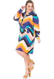 Vestido Geometrico Azul Plus Size