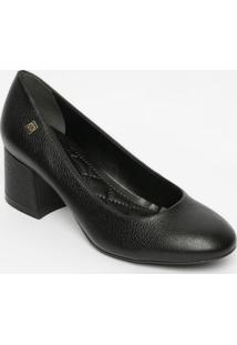 Sapato Tradicional Em Couro Com Tag- Preto- Salto: 5Loucos E Santos