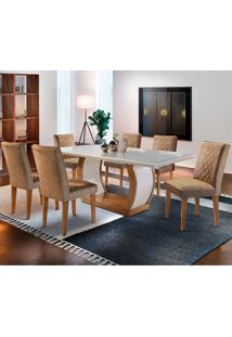 Conjunto De Mesa Com 6 Cadeiras Jade-Rufato - Animalle Chocolate / Off White / Imbuia