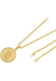 Pingente São Miguel Arcanjo Com Corrente Cadeado Tudo Joias Folheado A Ouro 18K Dourada