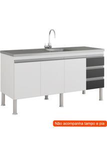 Balcão De Cozinha Ibiza 3 Pt 3 Gv Branco E Preto