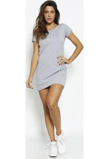 Vestido Mescla Com Recortes- Cinza & Amarelo- Physicphysical Fitness