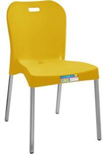 Cadeira Amarelo Com Pé Aluminio Sem Braço Ref 364 Paramount Plasticos