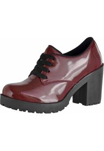 Bota Cano Curto Verniz Dr Shoes Vermelho